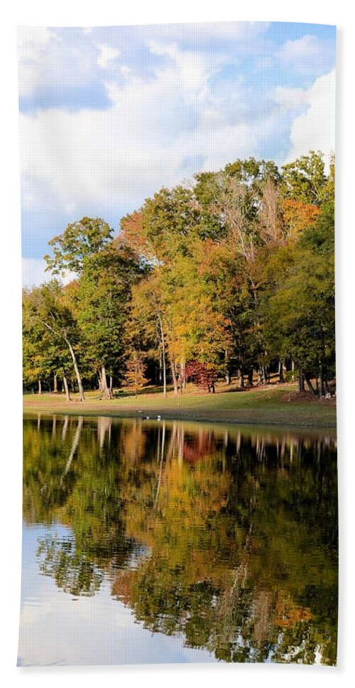 Lake House In Autumn Hand Towel featuring the photograph Lake House In Autumn by Maria Urso