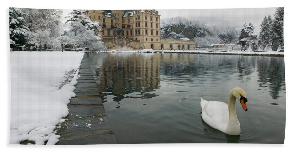 Photography Bath Sheet featuring the photograph Lake In Front Of A Chateau, Chateau De by Panoramic Images