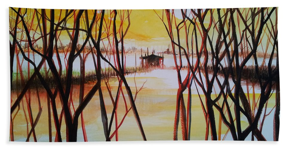 Landscape Bath Sheet featuring the painting Lake In The Morning by Bryan Ahn