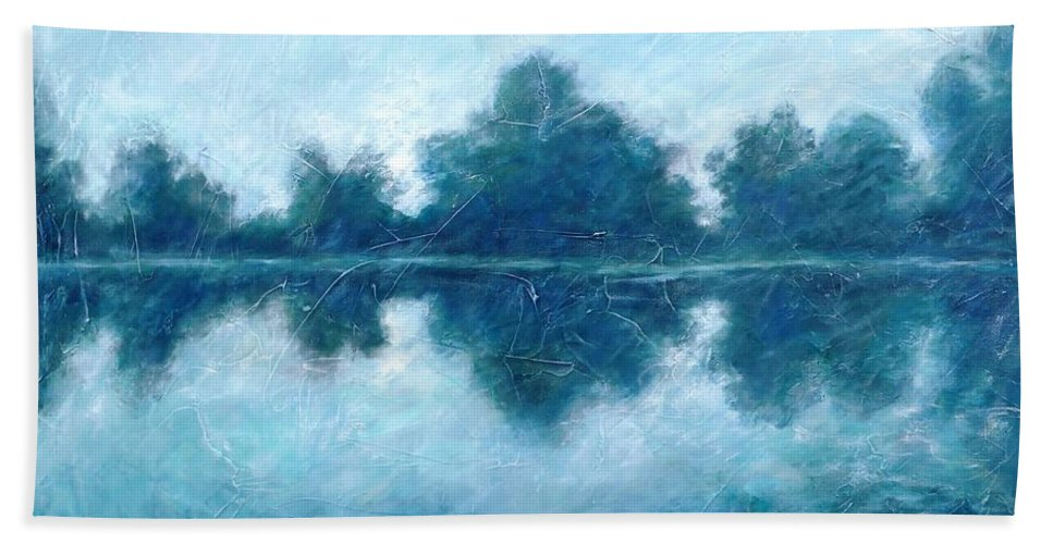 Lake Hand Towel featuring the painting Lake In The Morning by Cristina Stefan