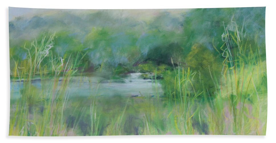 Landscapes Hand Towel featuring the painting Lake Isaac Impressions by Lee Beuther