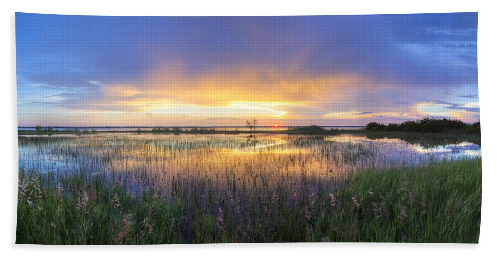 Clouds Hand Towel featuring the photograph Lake Jackson Sebring Florida Panorama by Debra and Dave Vanderlaan