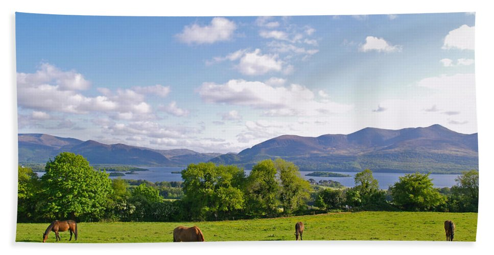 Landscape Hand Towel featuring the photograph Lake Killarney From Aghadoe Hill County Kerry by Alex Cassels