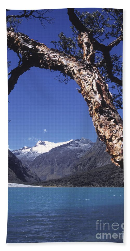 Peru Hand Towel featuring the photograph Lake Llanganuco Peru by James Brunker
