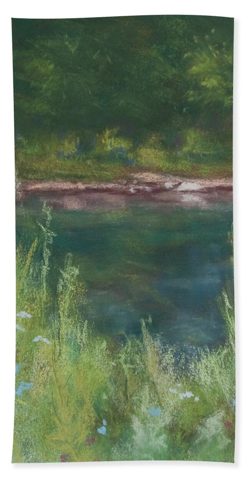 Landscapes Hand Towel featuring the painting Lake Medina by Lee Beuther