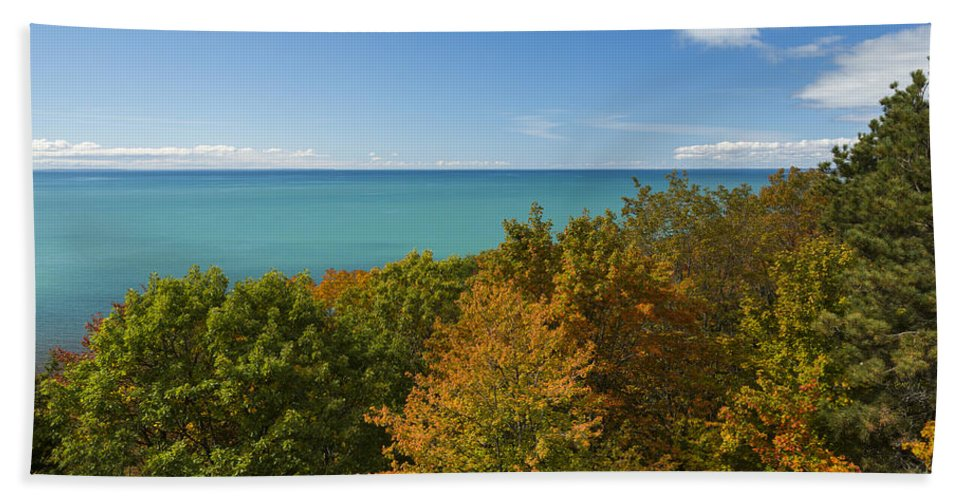 Lake Hand Towel featuring the photograph Lake Michigan Cut River 1 by John Brueske