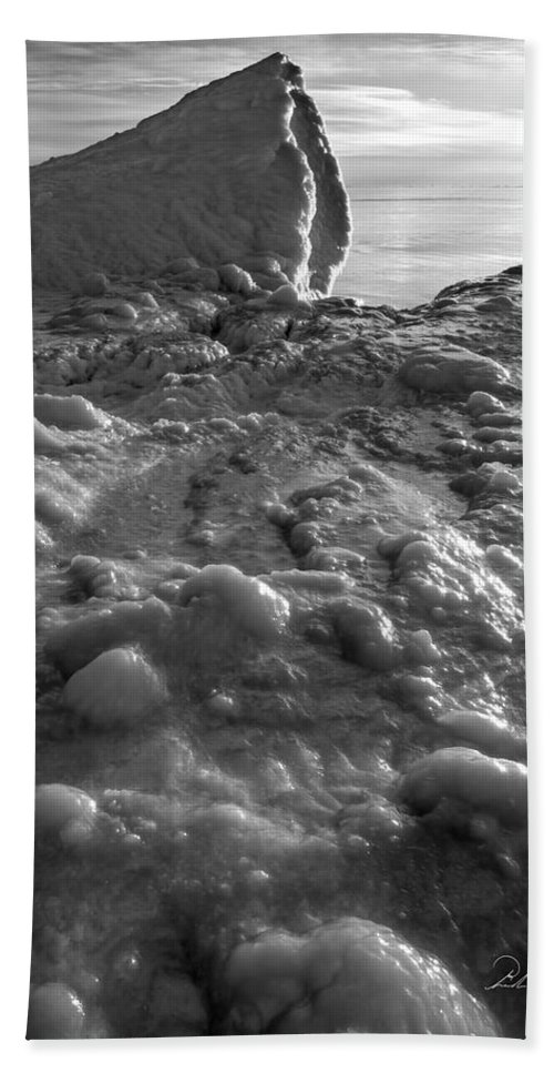 B&w Hand Towel featuring the photograph Lake Michigan Ice Xii by Frederic A Reinecke