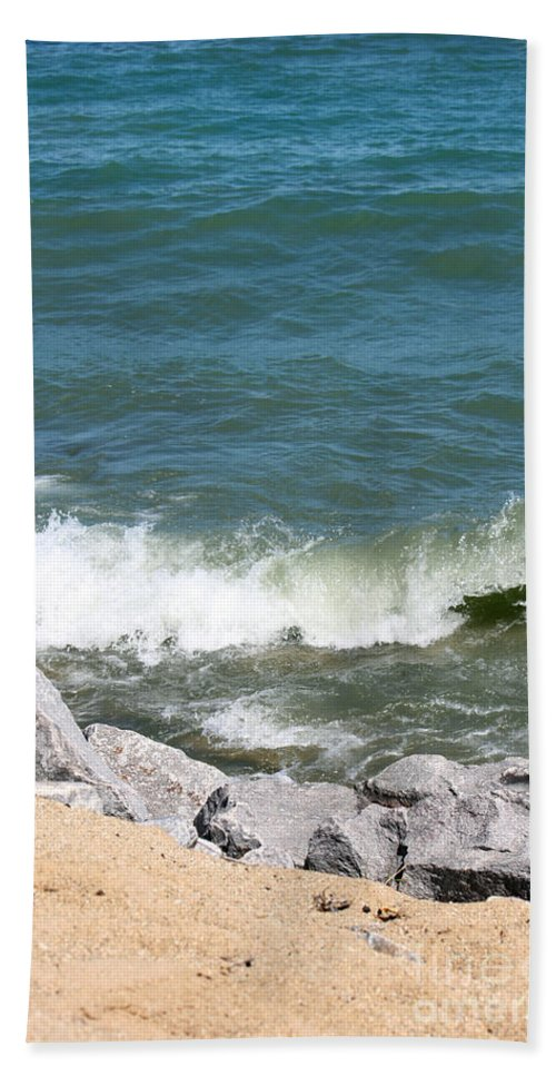 Winthrop Harbor Hand Towel featuring the photograph Lake Michigan Shore by Debbie Hart
