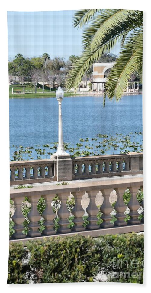 Lakeland Hand Towel featuring the photograph Lake Mirror Promenade by Carol Groenen
