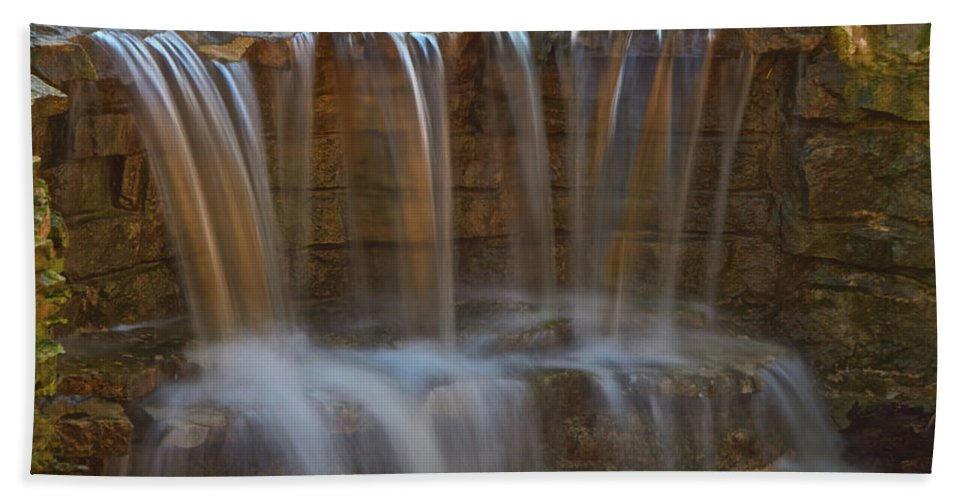 Waterfall Canvas Prints Hand Towel featuring the photograph Lake Park Waterfall by Jonah Anderson