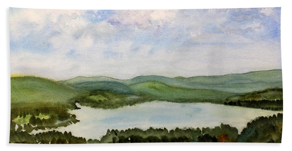 Beautiful Hand Towel featuring the painting Lake Parker In Glover by Donna Walsh