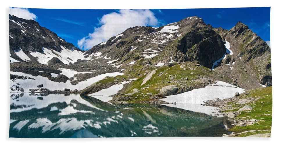 Alps Hand Towel featuring the photograph lake Pietra Rossa - Italy by Antonio Scarpi
