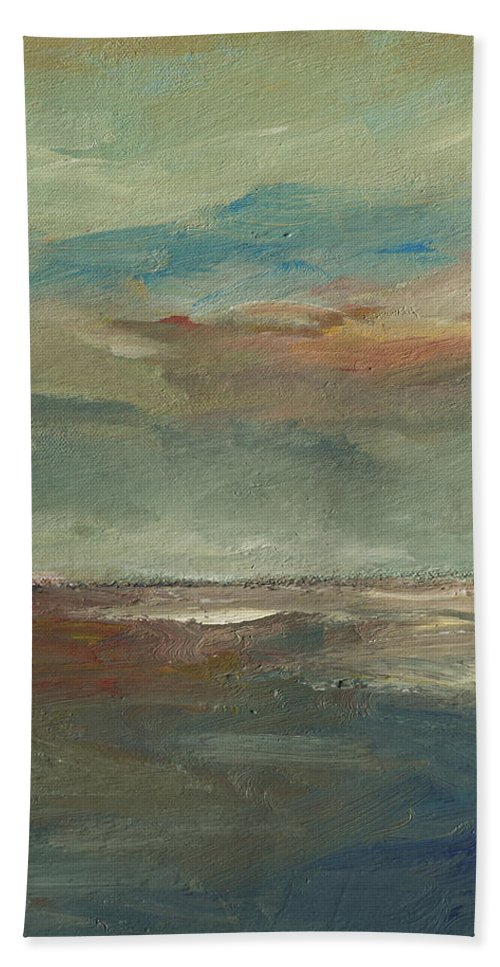 Seascape Hand Towel featuring the painting Lake Pontchartrain Sunset by Julie Dalton Gourgues