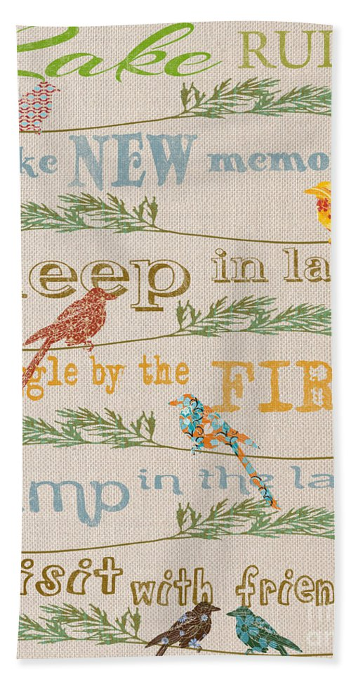 Digital Art Bath Sheet featuring the digital art Lake Rules With Birds-c by Jean Plout