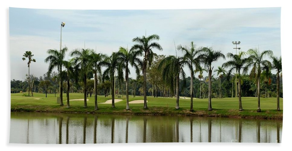 Golf Hand Towel featuring the photograph Lake Sand Traps Palm Trees And Golf Course Singapore by Imran Ahmed