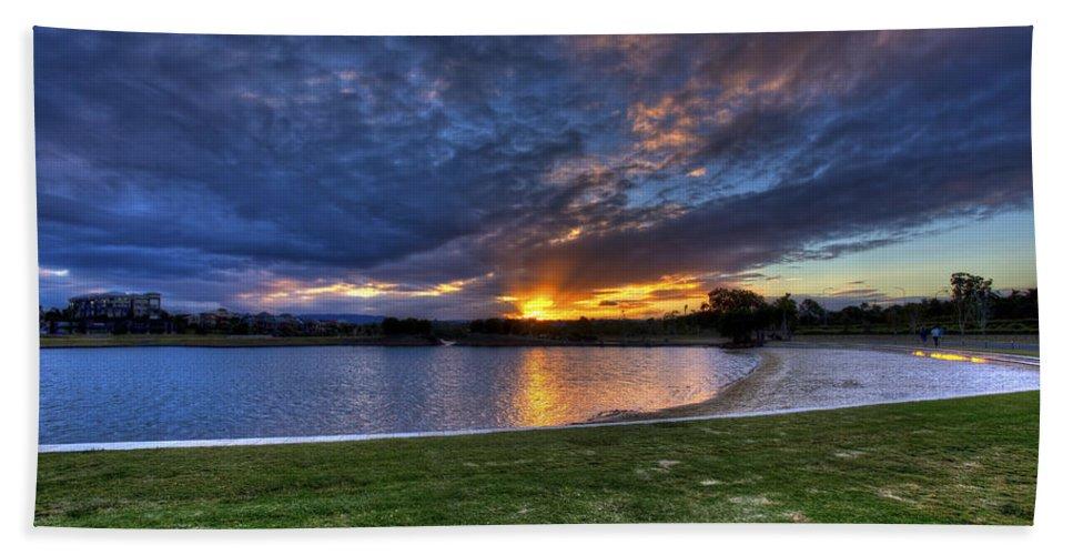 Sunset Bath Sheet featuring the photograph Lake Sunset by Darren Burton