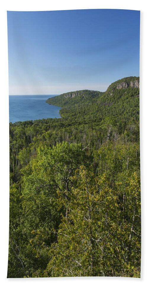 Lake Bath Sheet featuring the photograph Lake Superior Grand Portage 2 by John Brueske