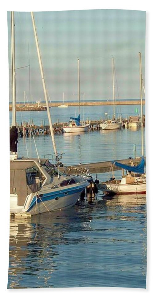Waterfront Bath Sheet featuring the photograph View Of The Harbor by Mary Wolf
