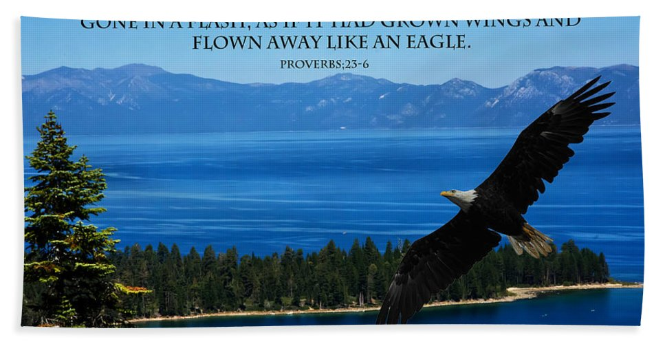 Lake Tahoe Eagle Hand Towel featuring the photograph Lake Tahoe Eagle Proverbs by Randall Branham