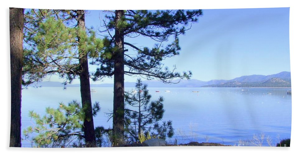 Lake Tahoe Bath Sheet featuring the photograph Lake Tahoe In The Morning by Mary Deal