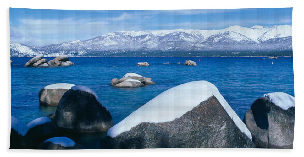 Photography Bath Sheet featuring the photograph Lake Tahoe In Winter, California by Panoramic Images