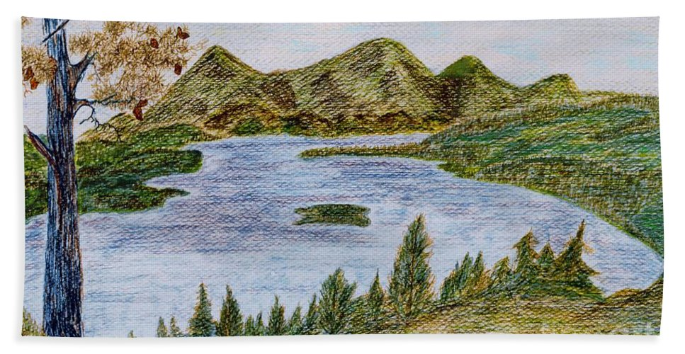 Landscape - Lake Tahoe Ca - Drawing Waterscape Scenery Trees Mountains Pine Tree; Black Brown Green Blue Orange Yellow Island Pinecones; Watercolor Ink Bushes; Mixed Media Hand Towel featuring the painting Lake Tahoe by Myrtle Joy