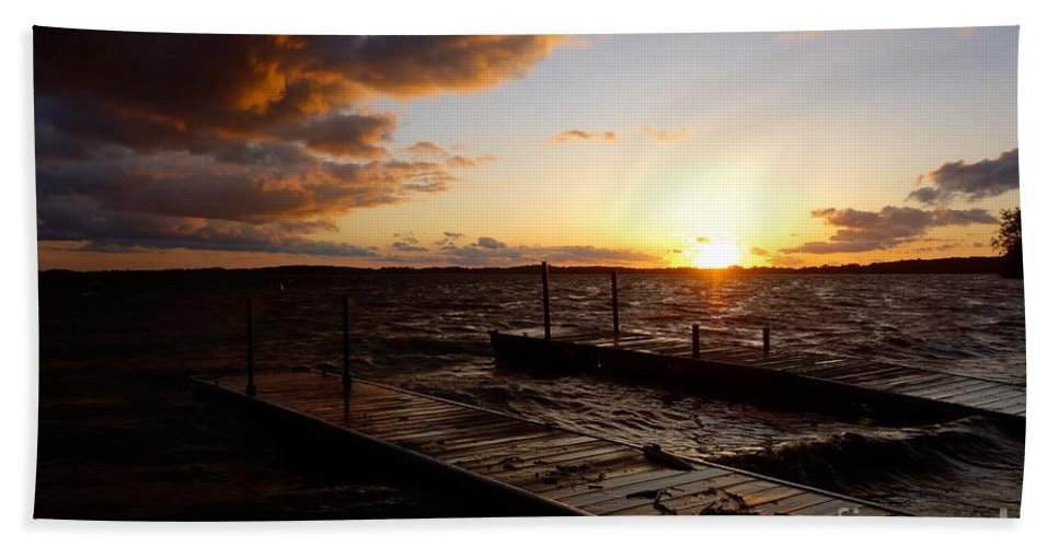 Land Hand Towel featuring the photograph Lake Waconia Sunset by Jacqueline Athmann