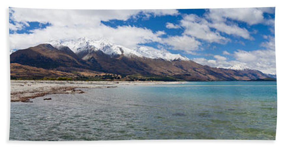 Glenorchy Hand Towel featuring the photograph Lake Wakatipu And Snowy New Zealand Mountain Peaks by Stephan Pietzko