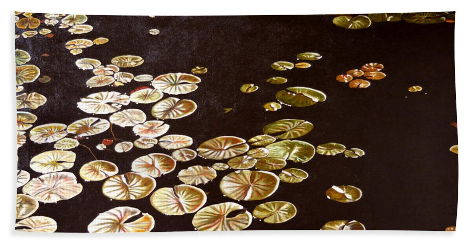 Lily Pad Hand Towel featuring the painting Lake Washington Lily Pad 10 by Thu Nguyen