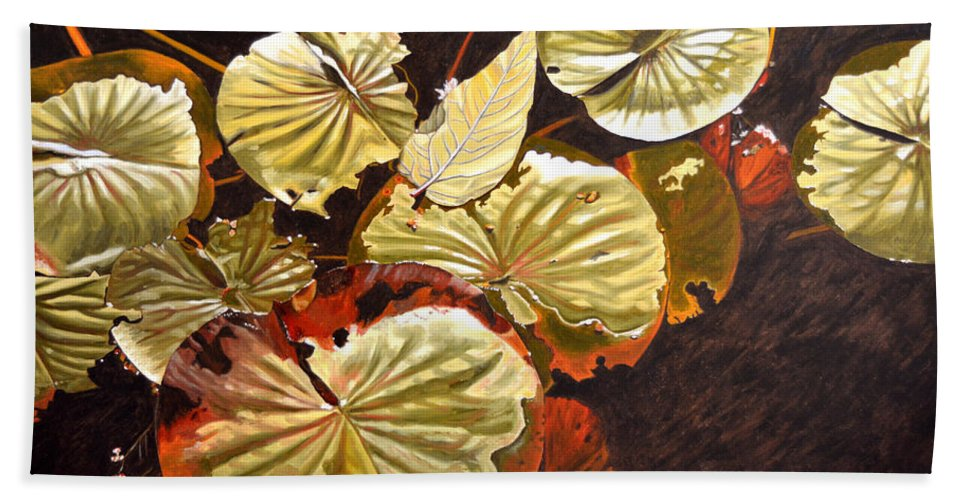 Waterlilies Hand Towel featuring the painting Lake Washington Lily Pad 11 by Thu Nguyen