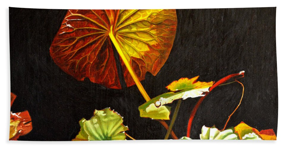 Lily Pad Hand Towel featuring the painting Lake Washington Lily Pad 18 by Thu Nguyen