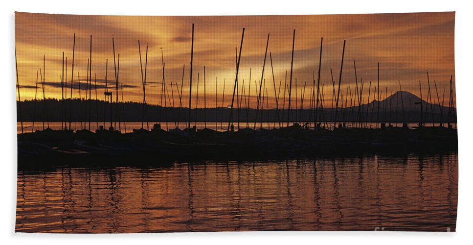 Landscape Hand Towel featuring the photograph Lake Washington With Mount Rainier And Marina by Jim Corwin
