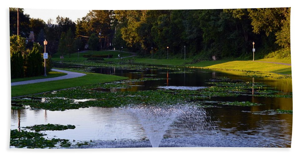 Lake With Fountain. Trees Hand Towel featuring the photograph Lake With Fountain by Rachid Hatni