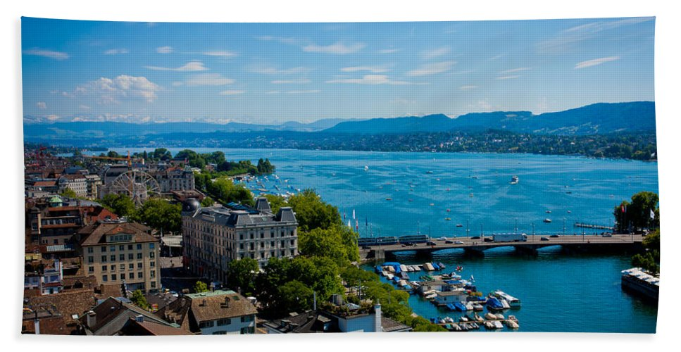 Switzerland Hand Towel featuring the photograph Lake Zurich by Anthony Doudt