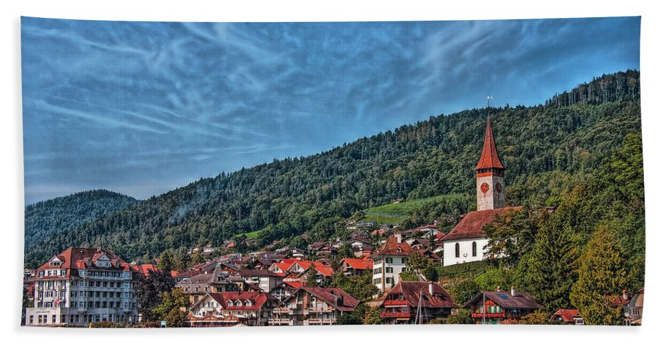 Switzerland Hand Towel featuring the photograph Lakefront Provincial Town by Hanny Heim