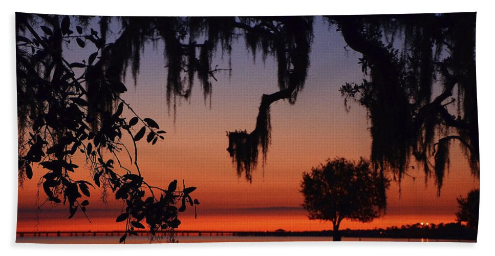 Lake Pontchartrain Bath Sheet featuring the photograph Lakefront Sunset by Charlotte Schafer