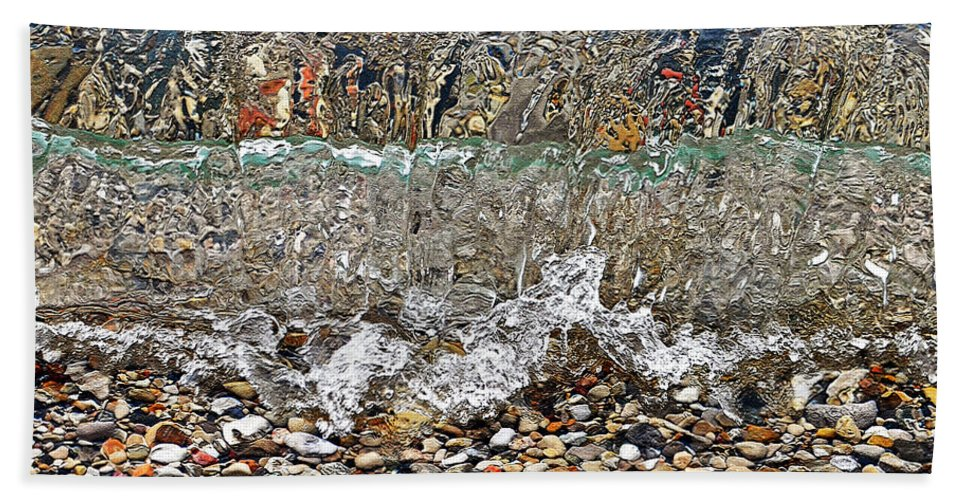 Lakeshore Rocks Hand Towel featuring the photograph Lakeshore Rocks 4 by Lydia Holly