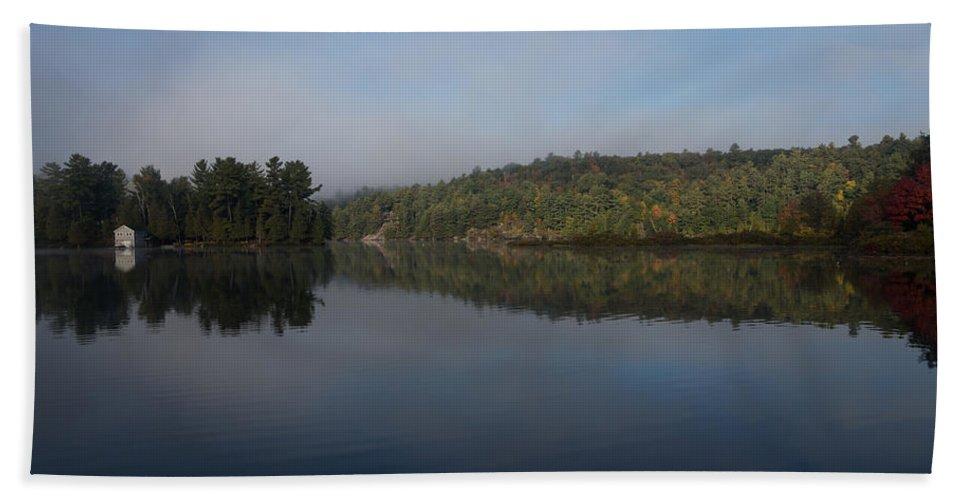 Lakeside Living Bath Sheet featuring the photograph Lakeside Cottage Living - Gentle Morning Fog by Georgia Mizuleva