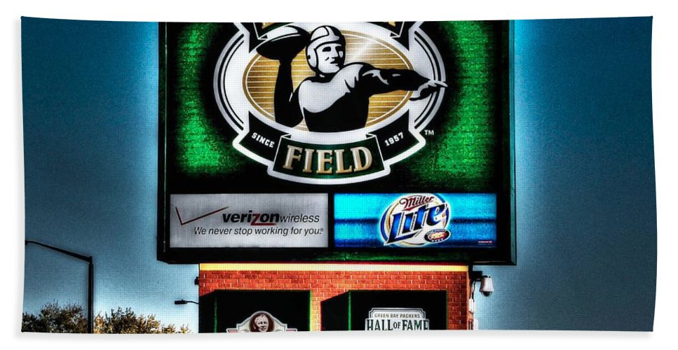Lambeau Field Hand Towel featuring the photograph Lambeau Field Entrance by Tommy Anderson