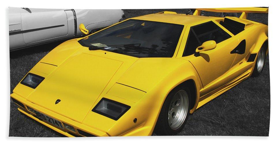 Lamborghini Bath Sheet featuring the photograph Lamborghini Countach by Chris Day