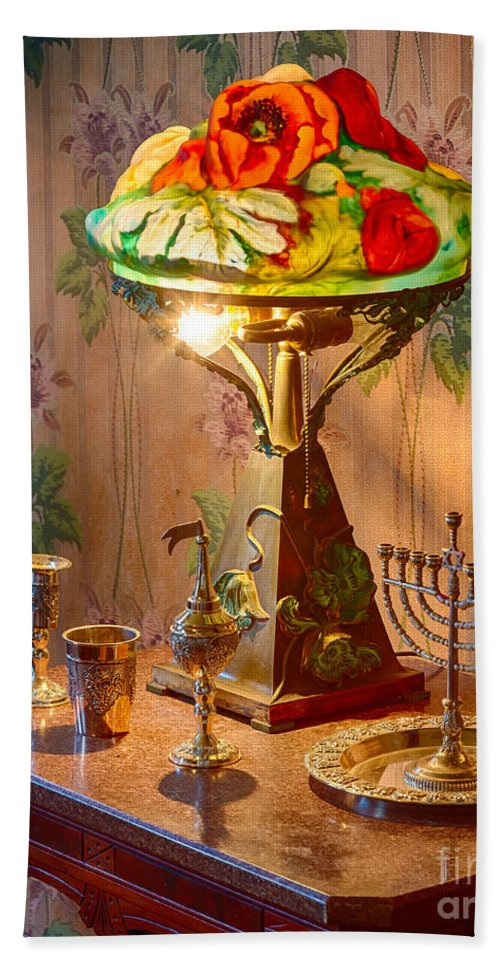 America Hand Towel featuring the photograph Lamp And Menorah by Inge Johnsson