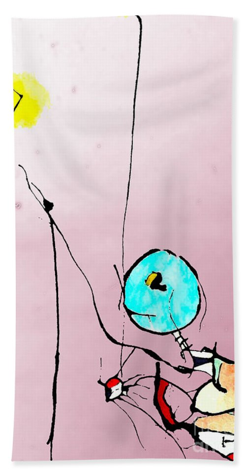 Ink Hand Towel featuring the mixed media Lamplight by Jeff Barrett