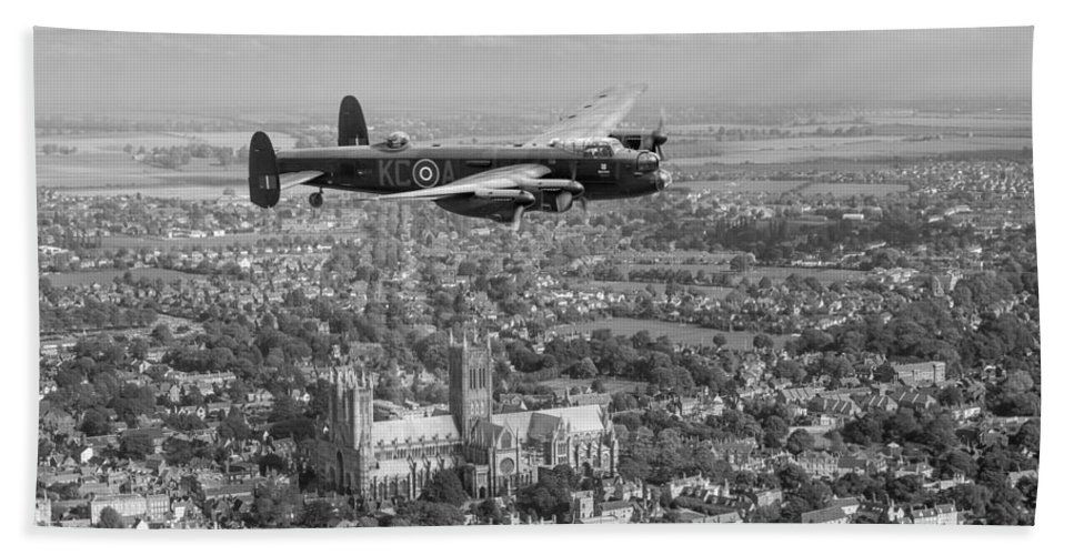 Avro Lancaster Bath Sheet featuring the photograph Lancaster City Of Lincoln Over The City Of Lincoln Black And White by Gary Eason