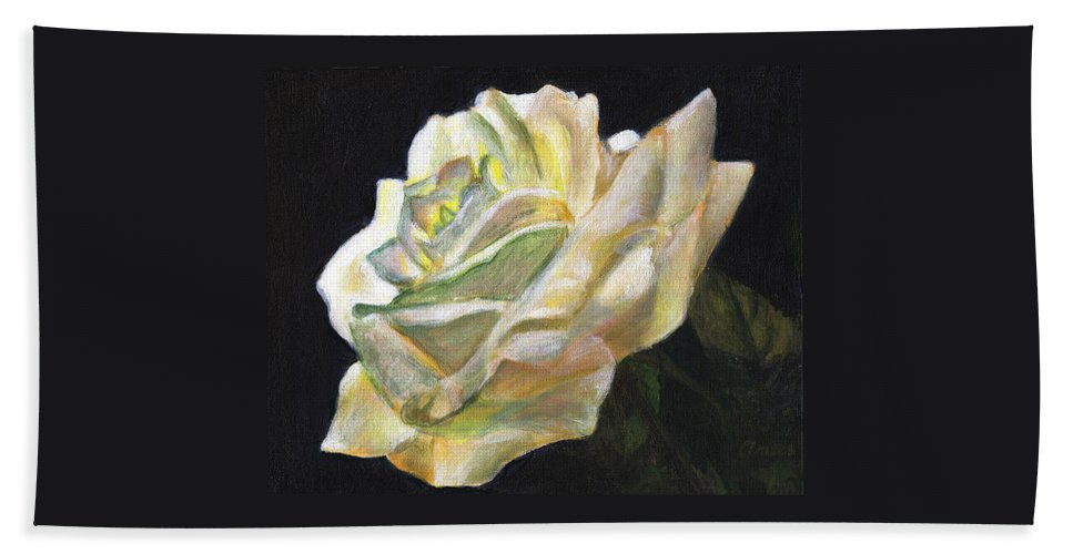 White Rose Hand Towel featuring the painting Summer Rose by Anees Peterman