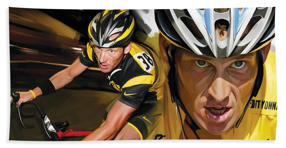 Lance Armstrong Hand Towel featuring the painting Lance Armstrong Artwork by Sheraz A