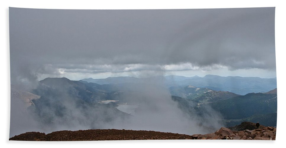 Pikes Peak Bath Sheet featuring the photograph Land And Clouds Converge by Susan Herber