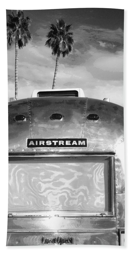Airstream Hand Towel featuring the photograph Land Yacht Bw Palm Springs by William Dey