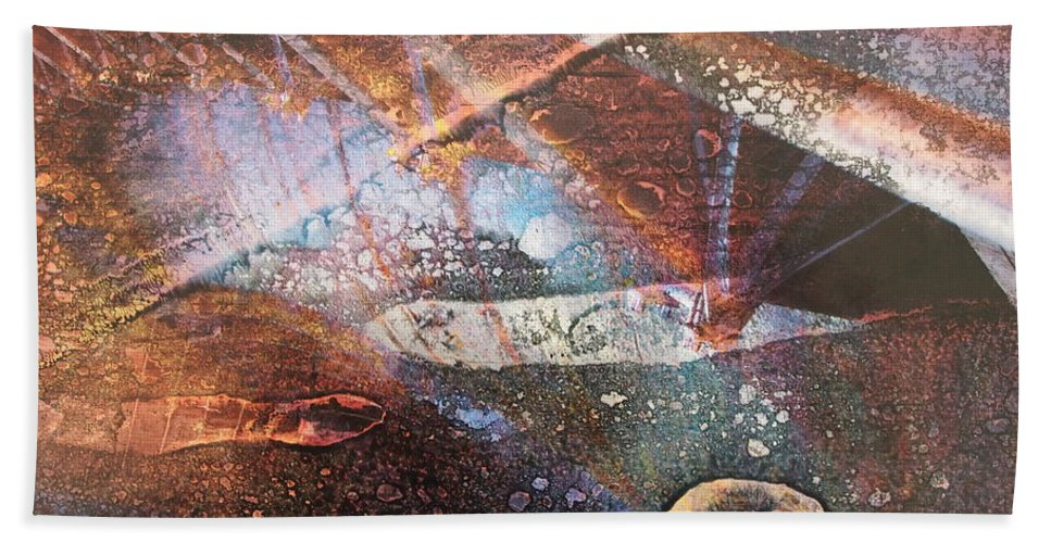 Abstract Hand Towel featuring the mixed media Landing by Jacklyn Duryea Fraizer