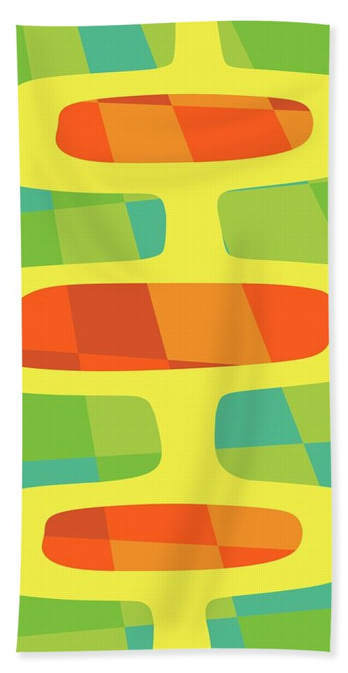 Mid Century Modern Bath Sheet featuring the digital art Abstract Pods by Donna Mibus