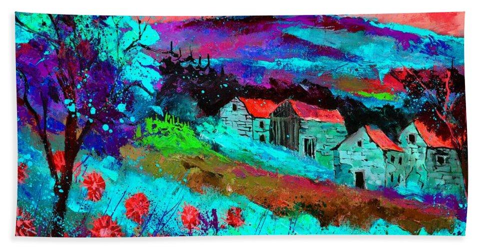 Landscape Hand Towel featuring the painting Landscape 69513061 by Pol Ledent